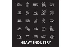 Heavy industry editable line icons