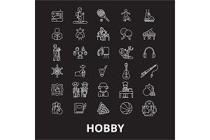 Hobby editable line icons vector set