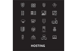 Hosting editable line icons vector