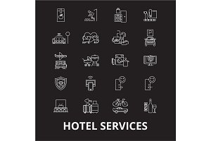 Hotel services editable line icons