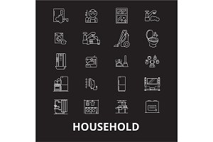 Household editable line icons vector