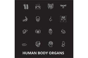 Human body organs editable line