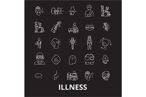 Illness editable line icons vector