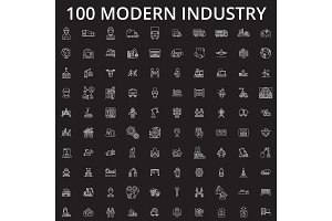 Industry icons editable line icons