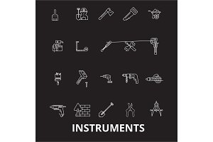 Instruments editable line icons