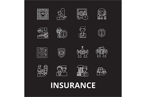 Insurance editable line icons vector