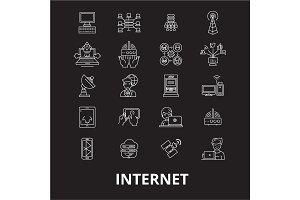 Internet editable line icons vector