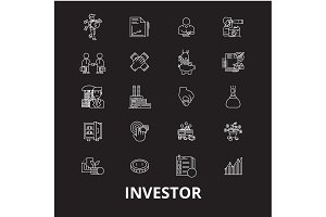 Investor editable line icons vector