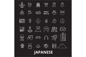 Japanese editable line icons vector