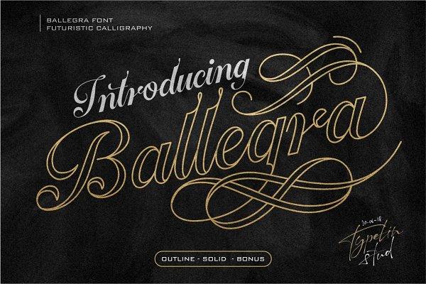 Script Fonts: typeline studio - Ballegra 50 % OFF!