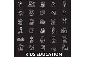Kids education editable line icons