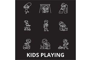 Kids playing editable line icons