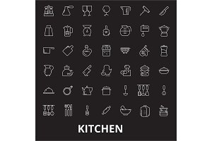 Kitchen editable line icons vector