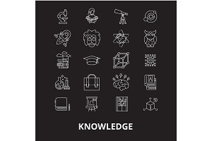 Knowledge editable line icons vector