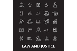 Law and justice editable line icons