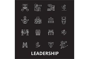 Leadership editable line icons