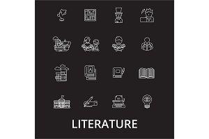 Literature editable line icons