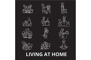 Living at home editable line icons