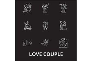 Love couple editable line icons