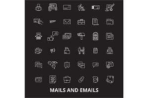 Mails emails  editable line icon