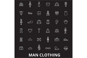 Man clothing editable line icons