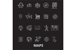 Maps editable line icons vector set