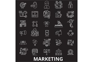 Marketing editable line icons vector