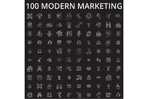 Marketing icons editable line icons