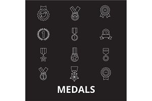 Medals editable line icons vector