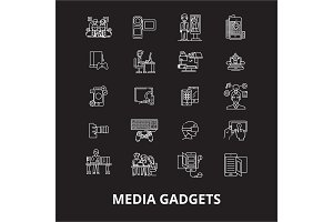 Media gadgets editable line icons
