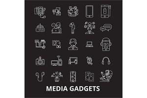 Media gadgets 2 editable line icons