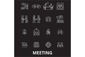 Meeting editable line icons vector