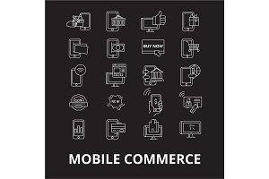 Mobile commerce editable line icons