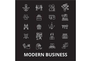 Modern business editable line icons