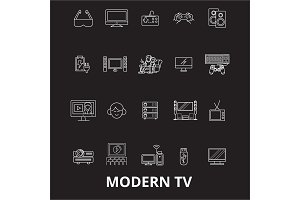 Modern tv editable line icons vector