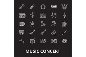 Music concert editable line icons