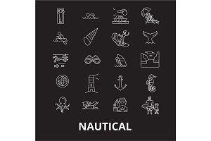 Nautical editable line icons vector