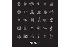 News editable line icons vector set