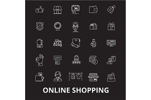 Online shopping editable line icons