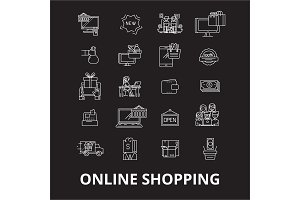 Online shopping  editable line icon