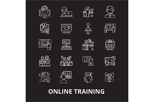 Online training editable line icons
