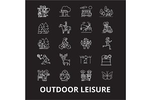 Outdoor leisure editable line icons