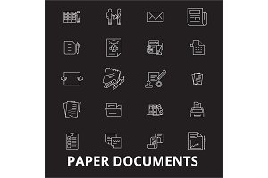 Paper documents editable line icons