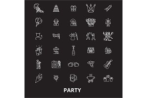 Party editable line icons vector set