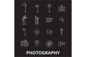 Photography editable line icons