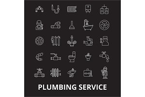 Plumbing service editable line icons