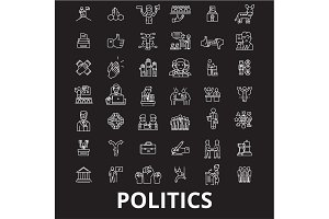 Politics editable line icons vector