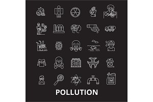 Pollution editable line icons vector