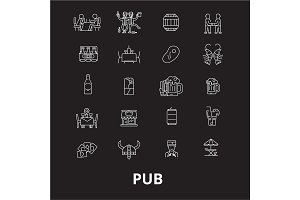 Pub editable line icons vector set