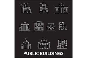 Public buildings editable line icons